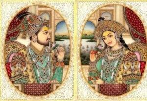 Representación de Mumtaz Mahal y Sha Jahan